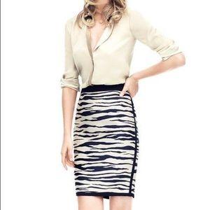 NWT Ann Taylor Zebra Jacquard Pencil Skirt Size 8
